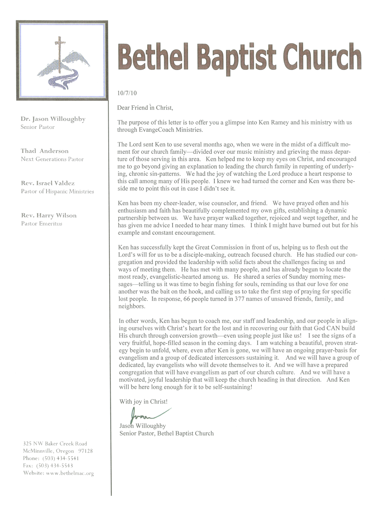 Reference Letters Evangecoach Ministries
